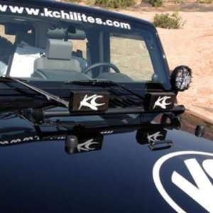 KC HiLites #7409 Front Light Bar   07 2011 Jeep Wrangler JK Black Hood