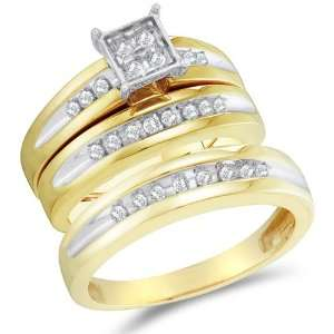 Size 5   10K Two Tone Gold Diamond Mens and Ladies His & Hers Trio 3