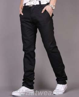 Mens Slim Casual Trousers Straight Leg Pants Grey Z51