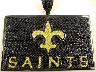 SAINTS ICED out Charm PAVE BLING HIP HOP BLACK AND YELLOW GOLD Diamond