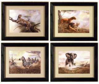 Set/4 Safari Lion Zebra Cheetah Elephant Art Framed