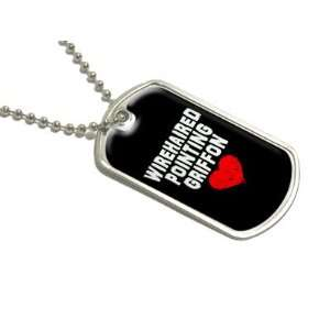 Wirehaired Pointing Griffon Love   Black   Military Dog Tag Luggage
