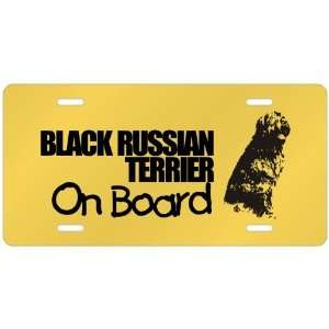 New  Black Russian Terrier On Board  License Plate Dog