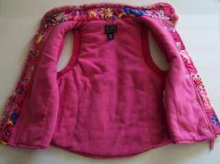 Childrens Place Girl Pink Funky Floral Fleece Lined Vest Jacket 7/8