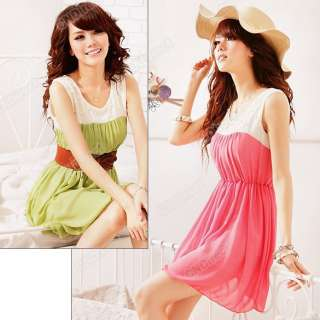 Womens Fashion Summer Crew Neck Casual Chiffon Sleeveless Mini Dress