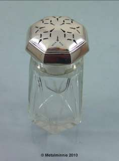 ART DECO SILVER & CUT GLASS CASTER SHAKER 1930 .HUTTON