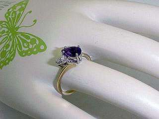 14k Yellow Gold Amethyst Diamonds Ring Size 6.5
