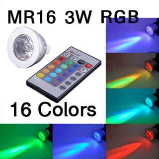 MR16 Gu10 3W RGB LED Light Bulb Lamp AC 85~265V 12V+ IR Remote Control