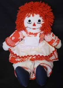 Raggedy Ann Doll Handmade Heart Valentine Rag Doll Red Dress DARLING