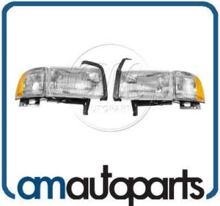 94 01 Dodge Ram Pickup Truck Headlights Headlamps w/ Side Marker Light