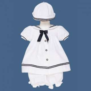 Lito Baby Girls Clothes White Sailor Dress Outfit Set Girl