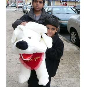 30 BIG SOFTWHITE PUPPY DOG   HOLDING PLUSH RED HEART