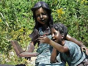 Bronze Girl Boy Child Kid Children Read Book Sculpture