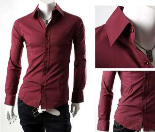 New Mens Slim Luxury Stylish Strip Dress Shirts 4 colors 3 sizes
