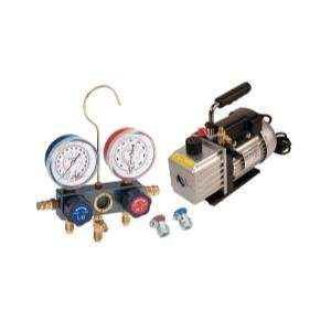 ) Vacuum Pump and Aluminum Block Manifold Gauge Set