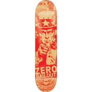 Zero Bailout Red Skateboard Deck   8.12