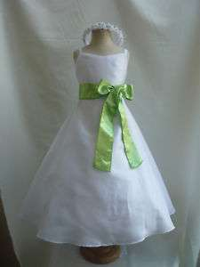 NEW WHITE APPLE GREEN WEDDING PARTY FLOWER GIRL DRESS
