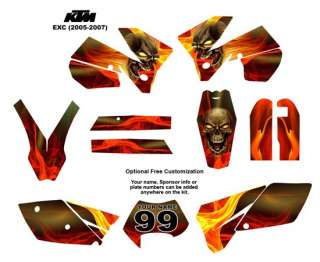 KTM EXC 2005  07 Bike Graphic Decal Sticker Kit 6666Bone