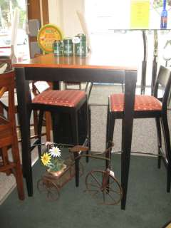 32 Square Bar Table by Dinec 3 pc Group High Bar Stools Wood Black