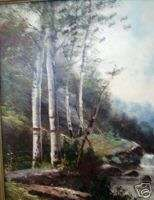 BIRCHES Trees c 1900 Antique art framed Oil Painting Landscape Ready