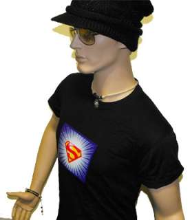 Sound activated SUPERMAN LED EL t shirt light up Black