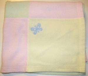 Carters Pink Yellow Green Blue Butterfly Baby Blanket
