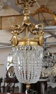 French Art Nouveau Chandelier Light Brass Glass
