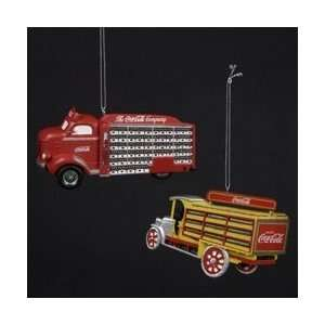 Coca Cola Kurt Adler 2 Delivery Trucks Ornaments