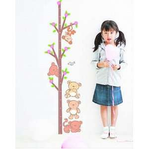 Kids Growth Chart Measurement Hanging Monkey Bears Sticker