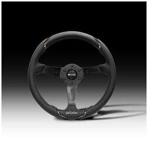 MOMO Gotham 350mm Black Leather Steering Wheel Automotive