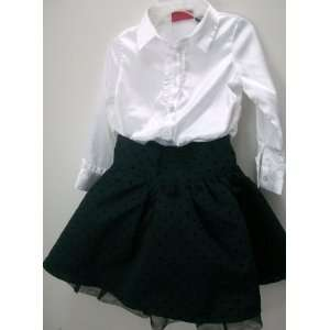 Baby Girl 3t, White Silky Blouse Black Dotted Skirt, Cute Dress Baby