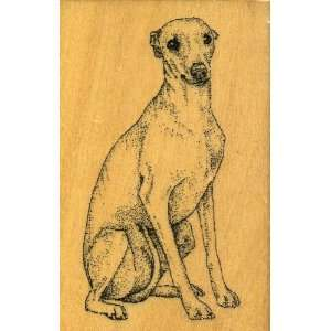 WHIPPET Dog Rubber Stamp   Wood Handle Block Mounted Arts
