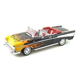 1957 Chevy Bel Air Convertible 1/18 Black w/Flames Toys