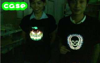 Sound Activated M DJ shape LED Light EL Music T Shirt