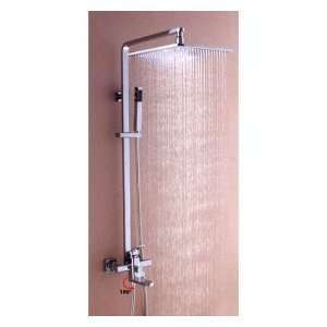 Chrome Wall mount Tub / Shower Faucet With 10 inch Rainfall Showerhead