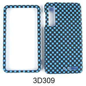 DROID 3 XT862 TEXTURED BLUE BLACK CHECKERS Cell Phones & Accessories