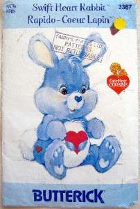 3367 Care Bears SWIFT HEART RABBIT Pattern UNCUT  1985