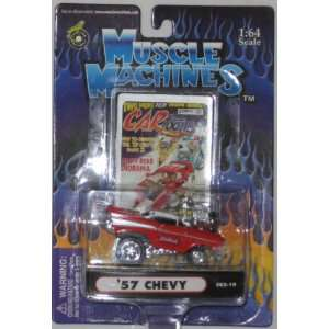 com Muscle Machines Red Edelbrock 57 CHEVY   164 Scale Die Cast Car