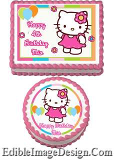 HELLO KITTY FLOWER BALLON Birthday Edible Party Cake Image Cupcake
