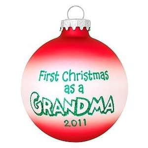 Personalized First Christmas As Grandma Glass Ornament