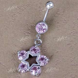 1PC 14G Pink Crystal Dangle Star Steel Belly Navel Ring Piercing