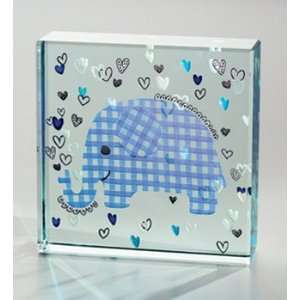 London Medium Paperweight Collage, Blue Baby Elephant