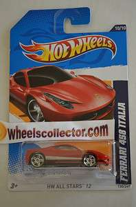 FERRARI 458 ITALIA Red * 2012 Hot Wheels * E Case * All Stars 10/10