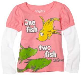 Babytogs Toddler Girls Dr. seuss One Fish Two Fish T Shirt Clothing
