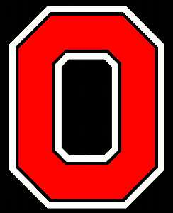 OHIO STATE BLOCK O VINYL DECAL STICKER ( RED AND WHITE )