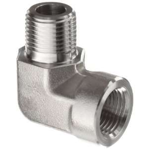 Parker Stainless Steel 316 Pipe Fitting, 90 Degree Street Elbow, 1/4