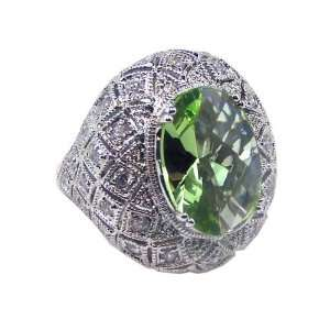 Sterling Silver Antique Green CZ Ring Size 5 Jewelry