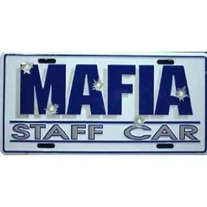 Mafia Staff Car Metal License Plate Auto Tag Number