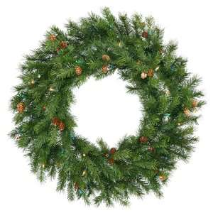 30 Pre Lit Redwood Pine With Cones Christmas Wreath