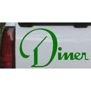 Dark Green 16in X 8.4in    Diner Window Decal Sign Business Car Window